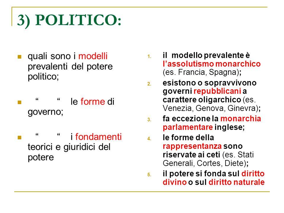 """3) POLITICO: quali sono i modelli prevalenti del potere politico; """" """" le forme di governo; """" """" i fondamenti teorici e giuridici del potere 1. il model"""