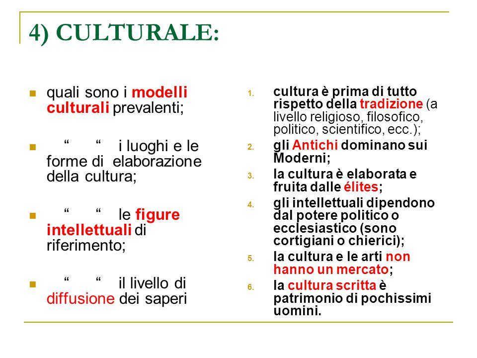 """4) CULTURALE: quali sono i modelli culturali prevalenti; """" """" i luoghi e le forme di elaborazione della cultura; """" """" le figure intellettuali di riferim"""