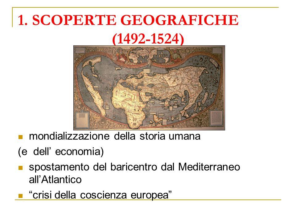 """1. SCOPERTE GEOGRAFICHE (1492-1524) mondializzazione della storia umana (e dell' economia) spostamento del baricentro dal Mediterraneo all'Atlantico """""""