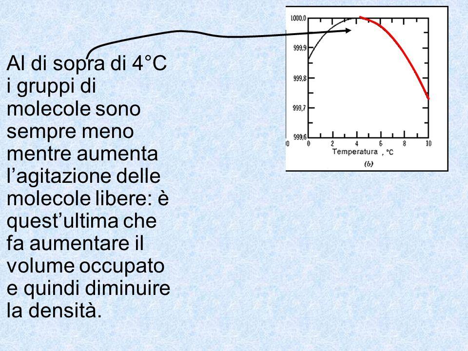 Al di sopra di 4°C i gruppi di molecole sono sempre meno mentre aumenta l'agitazione delle molecole libere: è quest'ultima che fa aumentare il volume