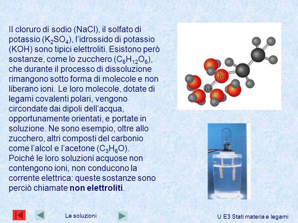 Il cloruro di sodio (NaCl), il solfato di potassio (K 2 SO 4 ), l'idrossido di potassio (KOH) sono tipici elettroliti. Esistono però sostanze, come lo