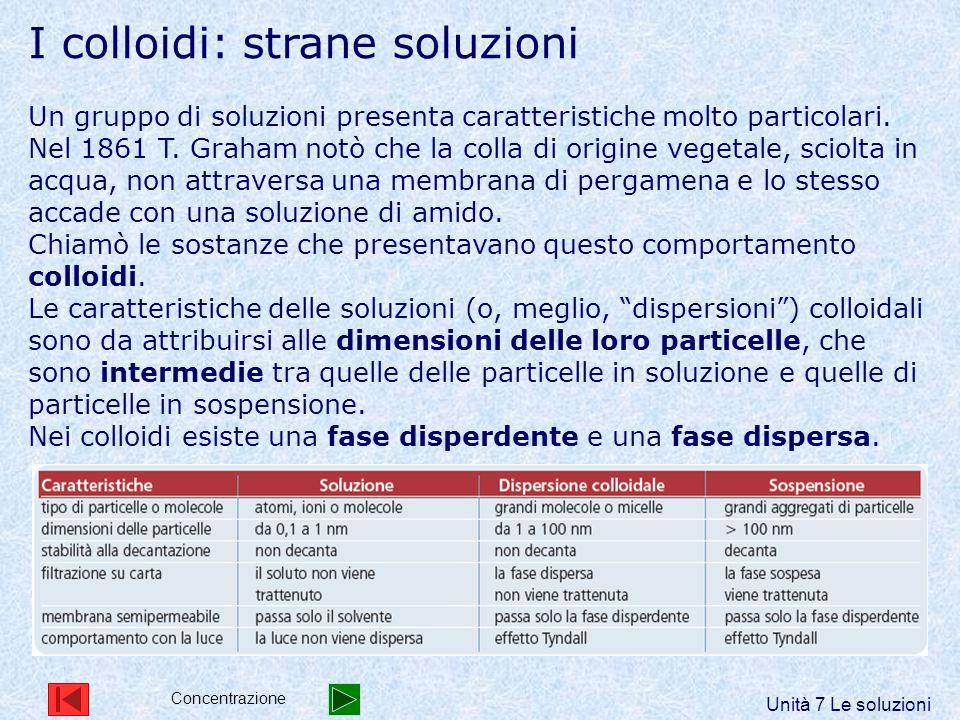 I colloidi: strane soluzioni Un gruppo di soluzioni presenta caratteristiche molto particolari. Nel 1861 T. Graham notò che la colla di origine vegeta