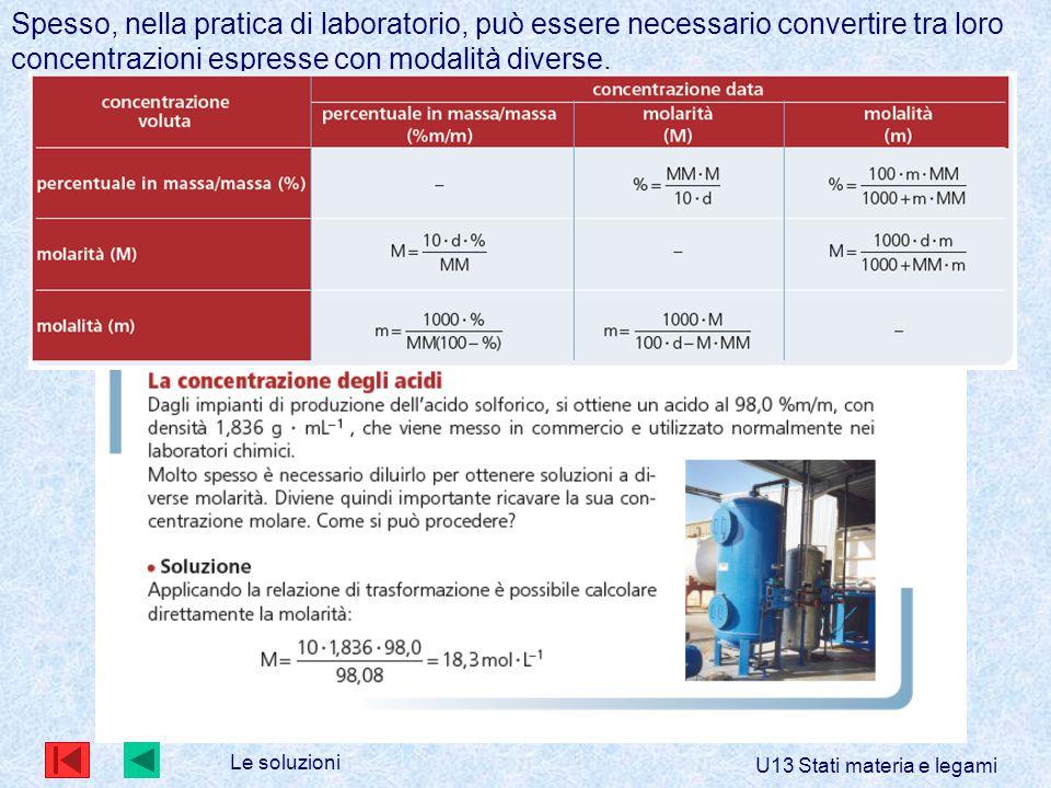 Le soluzioni U13 Stati materia e legami Spesso, nella pratica di laboratorio, può essere necessario convertire tra loro concentrazioni espresse con modalità diverse.