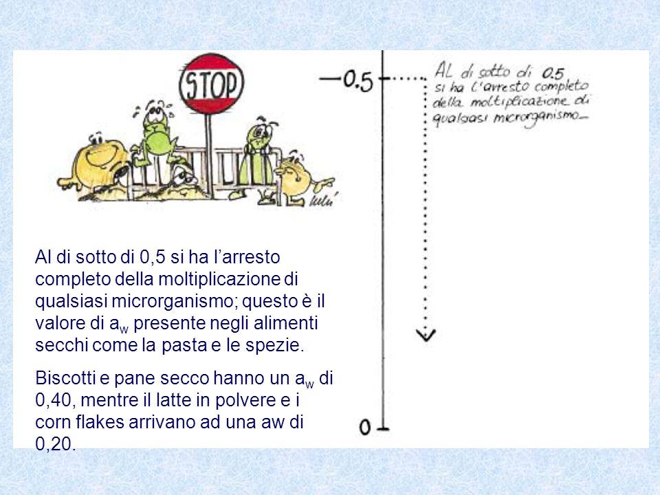 Al di sotto di 0,5 si ha l'arresto completo della moltiplicazione di qualsiasi microrganismo; questo è il valore di a w presente negli alimenti secchi