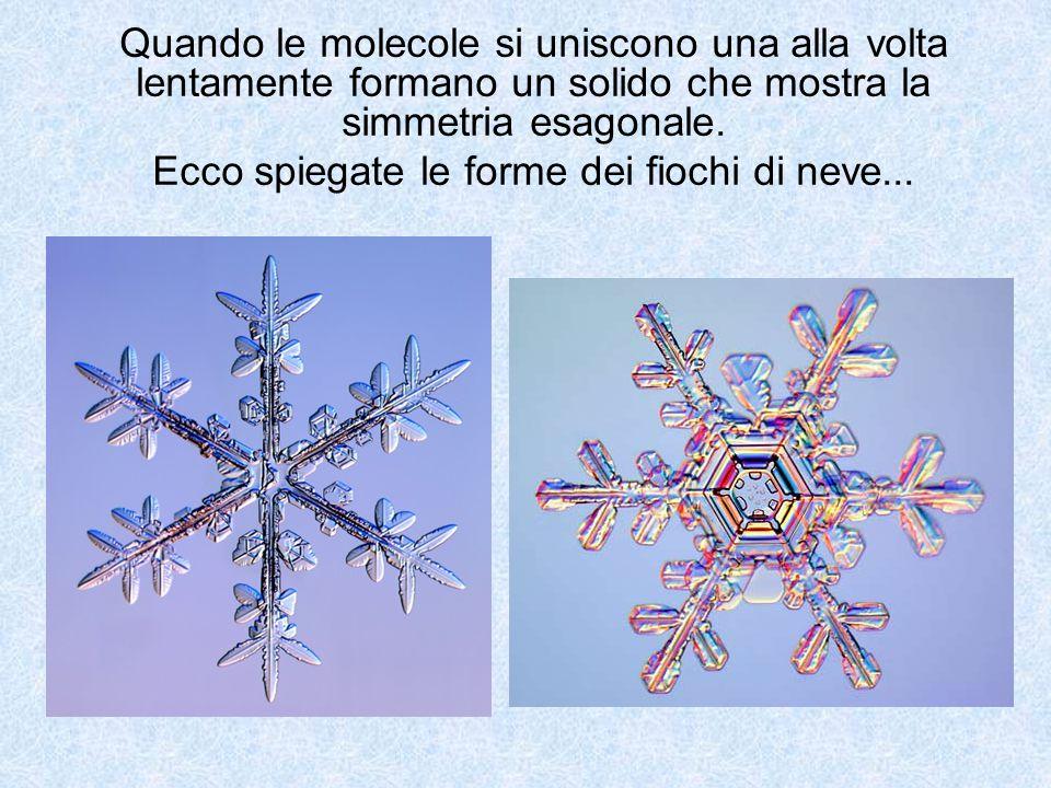 Quando le molecole si uniscono una alla volta lentamente formano un solido che mostra la simmetria esagonale. Ecco spiegate le forme dei fiochi di nev