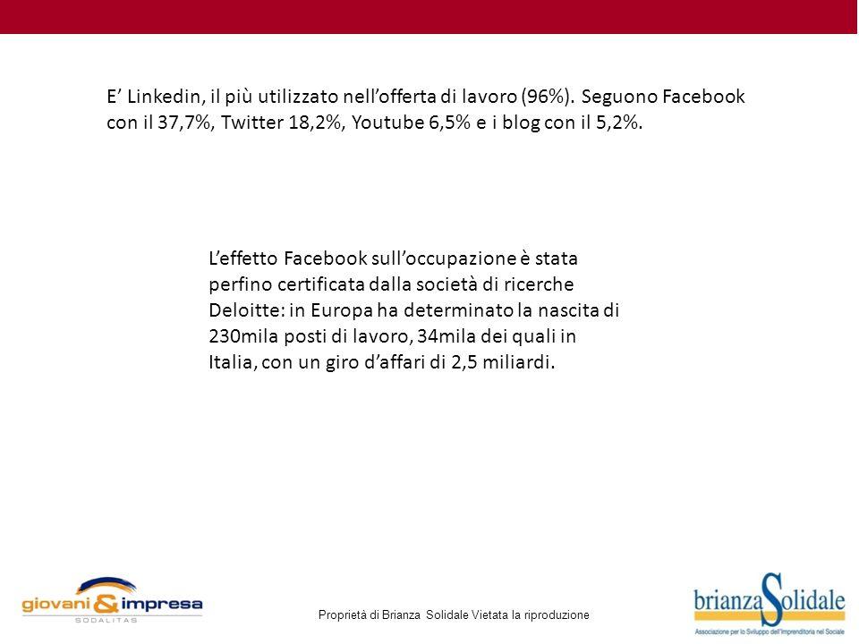 Proprietà di Brianza Solidale Vietata la riproduzione E' Linkedin, il più utilizzato nell'offerta di lavoro (96%). Seguono Facebook con il 37,7%, Twit