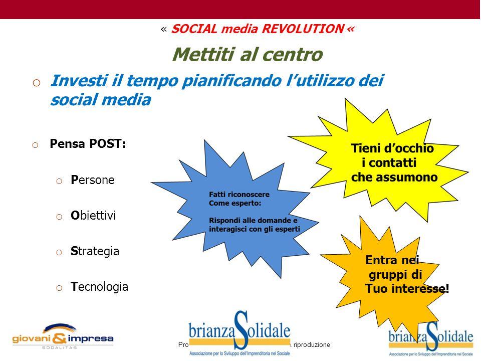 Proprietà di Brianza Solidale Vietata la riproduzione Mettiti al centro o Investi il tempo pianificando l'utilizzo dei social media o Pensa POST: o Pe