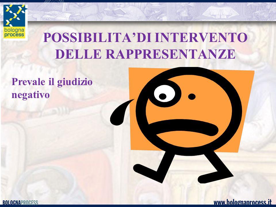 POSSIBILITA'DI INTERVENTO DELLE RAPPRESENTANZE Prevale il giudizio negativo