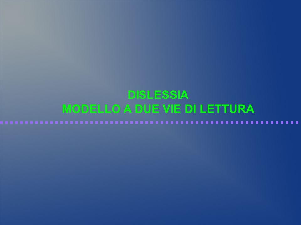 DISLESSIA MODELLO A DUE VIE DI LETTURA