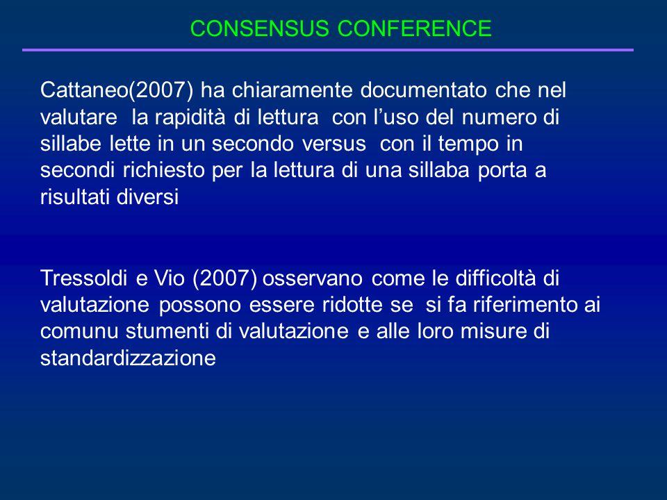 CONSENSUS CONFERENCE Cattaneo(2007) ha chiaramente documentato che nel valutare la rapidità di lettura con l'uso del numero di sillabe lette in un sec
