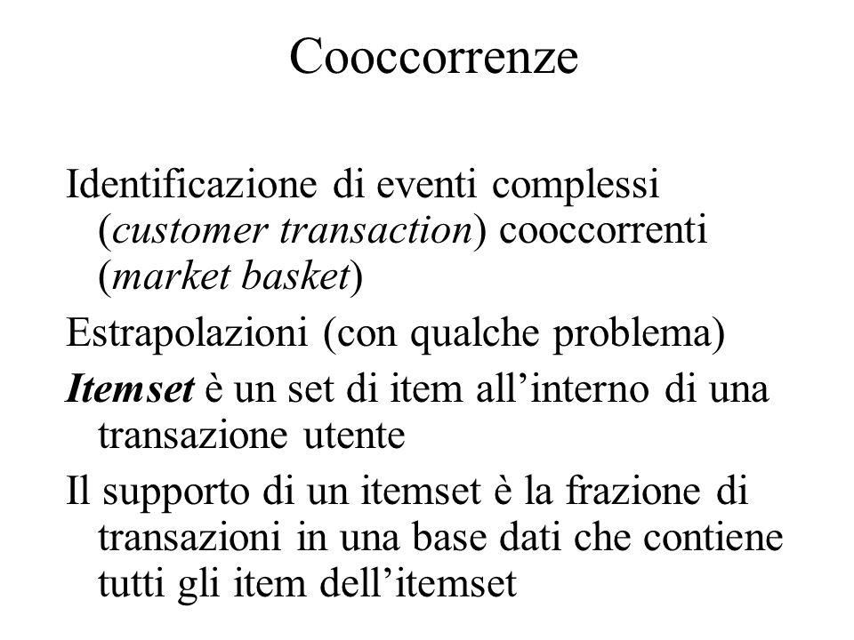 Cooccorrenze Identificazione di eventi complessi (customer transaction) cooccorrenti (market basket) Estrapolazioni (con qualche problema) Itemset è un set di item all'interno di una transazione utente Il supporto di un itemset è la frazione di transazioni in una base dati che contiene tutti gli item dell'itemset