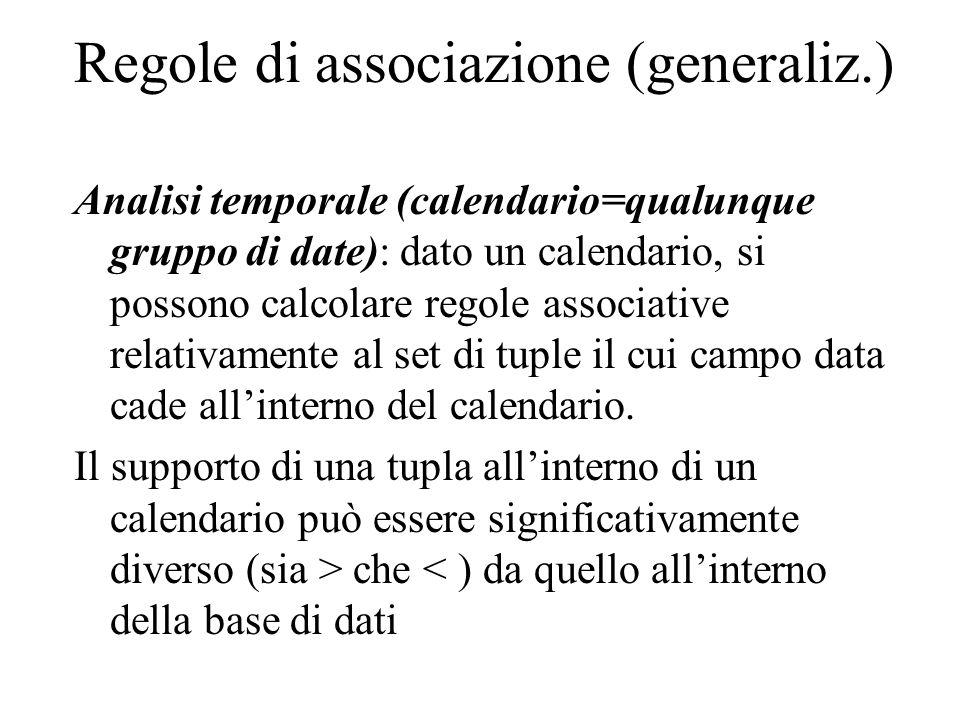 Regole di associazione (generaliz.) Analisi temporale (calendario=qualunque gruppo di date): dato un calendario, si possono calcolare regole associative relativamente al set di tuple il cui campo data cade all'interno del calendario.