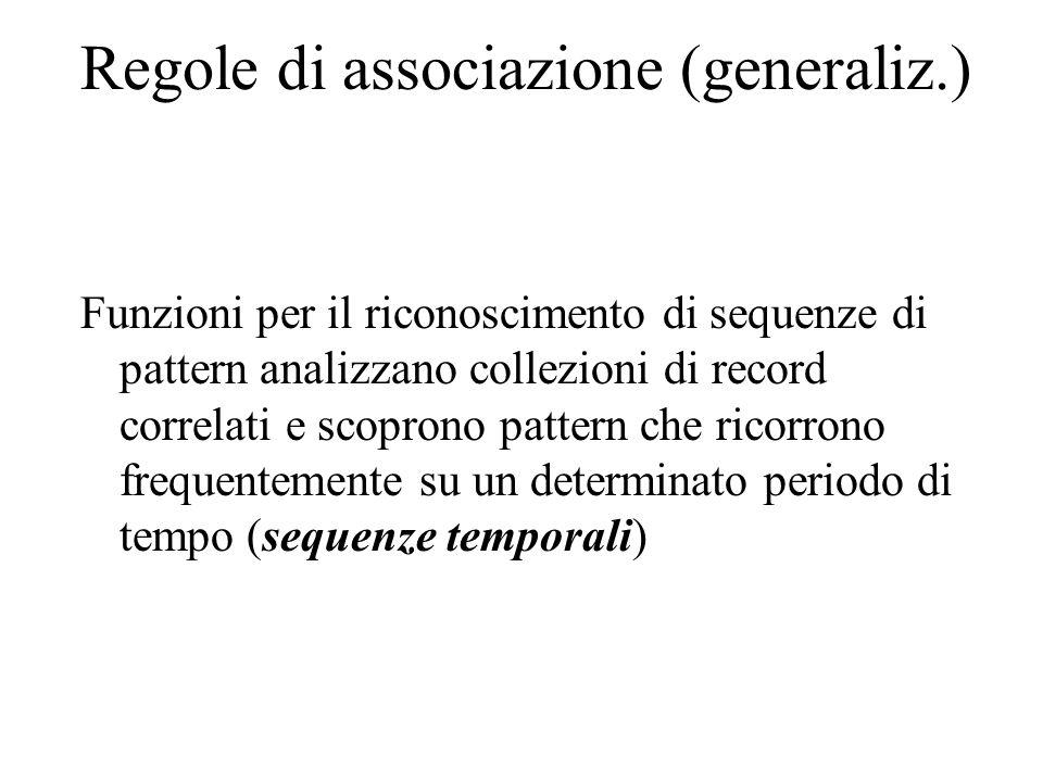 Regole di associazione (generaliz.) Funzioni per il riconoscimento di sequenze di pattern analizzano collezioni di record correlati e scoprono pattern che ricorrono frequentemente su un determinato periodo di tempo (sequenze temporali)