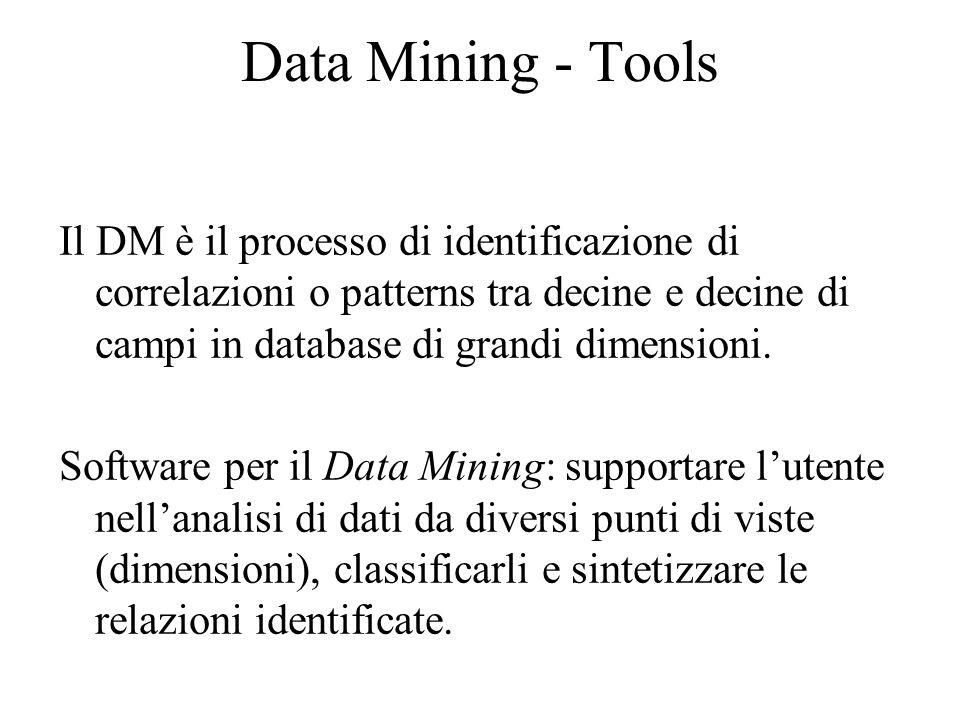 Data Mining - Tools Il DM è il processo di identificazione di correlazioni o patterns tra decine e decine di campi in database di grandi dimensioni.