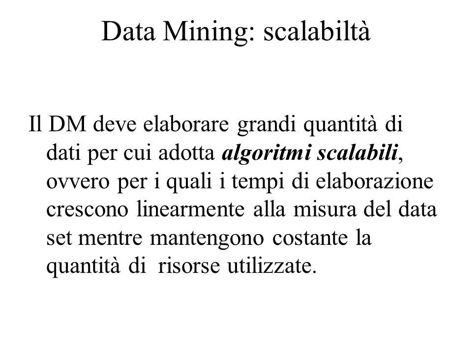 Data Mining: scalabiltà Il DM deve elaborare grandi quantità di dati per cui adotta algoritmi scalabili, ovvero per i quali i tempi di elaborazione crescono linearmente alla misura del data set mentre mantengono costante la quantità di risorse utilizzate.