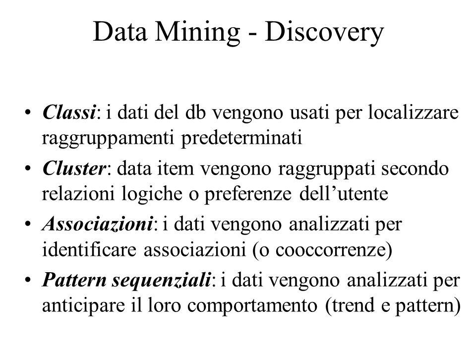 Data Mining - Discovery Classi: i dati del db vengono usati per localizzare raggruppamenti predeterminati Cluster: data item vengono raggruppati secondo relazioni logiche o preferenze dell'utente Associazioni: i dati vengono analizzati per identificare associazioni (o cooccorrenze) Pattern sequenziali: i dati vengono analizzati per anticipare il loro comportamento (trend e pattern)