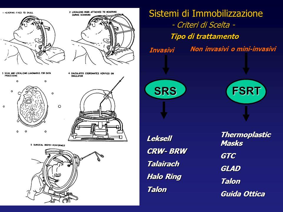 Tipo di trattamento SRS FSRT - Criteri di Scelta - Sistemi di Immobilizzazione Leksell CRW- BRW Talairach Halo Ring Talon Thermoplastic Masks GTCGLADT