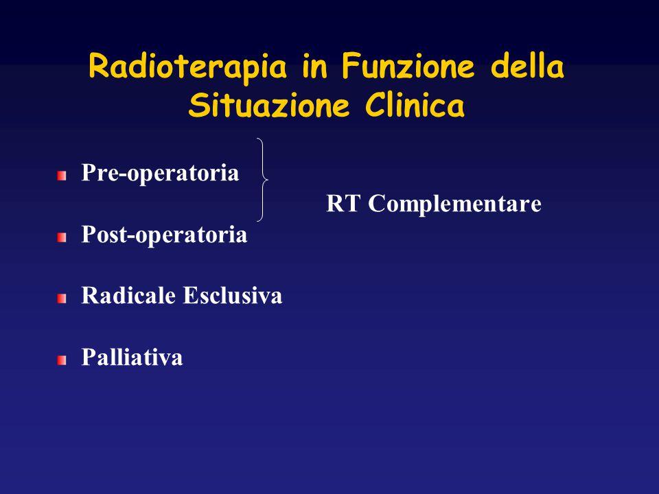 Radioterapia in Funzione della Situazione Clinica Pre-operatoria RT Complementare Post-operatoria Radicale Esclusiva Palliativa