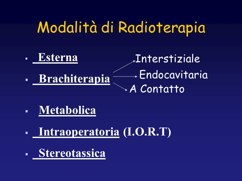 Modalità di Radioterapia  Esterna  Brachiterapia  Metabolica  Intraoperatoria (I.O.R.T)  Stereotassica Interstiziale Endocavitaria A Contatto