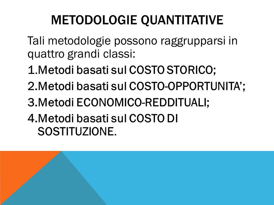 METODOLOGIE QUANTITATIVE Tali metodologie possono raggrupparsi in quattro grandi classi: 1.Metodi basati sul COSTO STORICO; 2.Metodi basati sul COSTO-OPPORTUNITA'; 3.Metodi ECONOMICO-REDDITUALI; 4.Metodi basati sul COSTO DI SOSTITUZIONE.