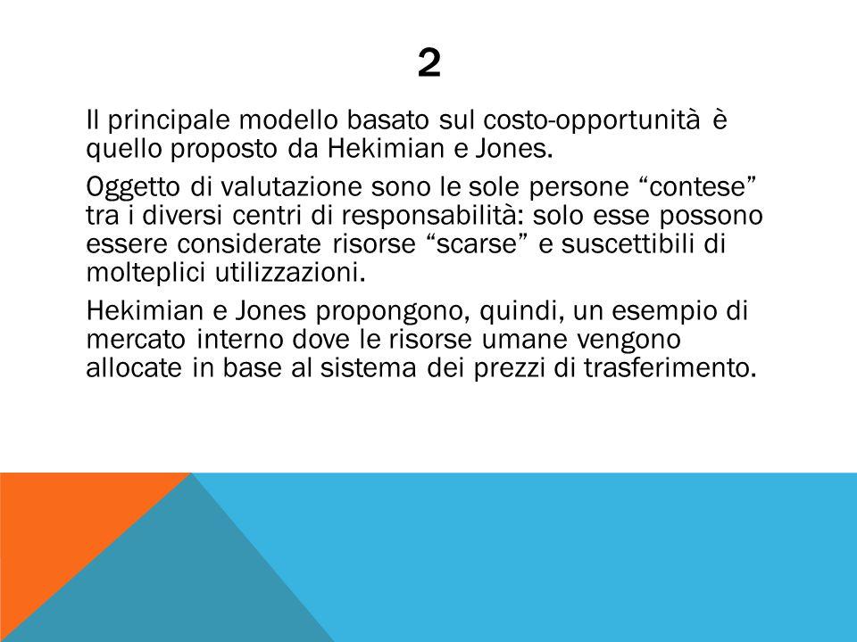 """2 Il principale modello basato sul costo-opportunità è quello proposto da Hekimian e Jones. Oggetto di valutazione sono le sole persone """"contese"""" tra"""