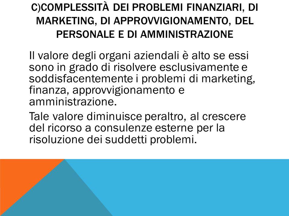 C)COMPLESSITÀ DEI PROBLEMI FINANZIARI, DI MARKETING, DI APPROVVIGIONAMENTO, DEL PERSONALE E DI AMMINISTRAZIONE Il valore degli organi aziendali è alto