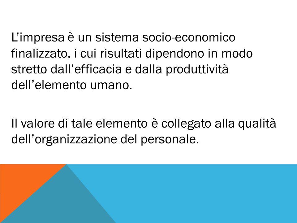 L'impresa è un sistema socio-economico finalizzato, i cui risultati dipendono in modo stretto dall'efficacia e dalla produttività dell'elemento umano.