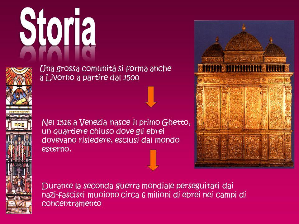 Una grossa comunità si forma anche a Livorno a partire dal 1500 Nel 1516 a Venezia nasce il primo Ghetto, un quartiere chiuso dove gli ebrei dovevano