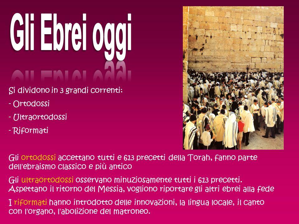 Si dividono in 3 grandi correnti: - Ortodossi - Ultraortodossi - Riformati Gli ortodossi accettano tutti e 613 precetti della Torah, fanno parte dell'