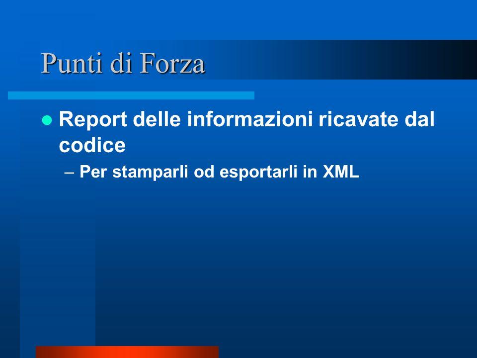 Punti di Forza Report delle informazioni ricavate dal codice –Per stamparli od esportarli in XML