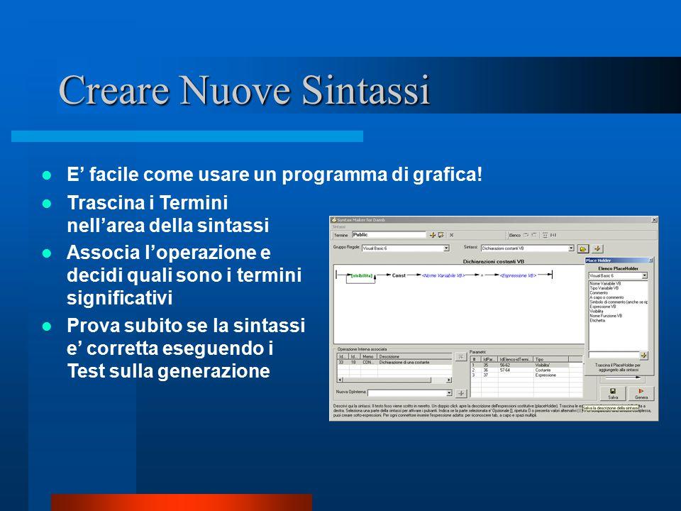 Creare Nuove Sintassi E' facile come usare un programma di grafica.