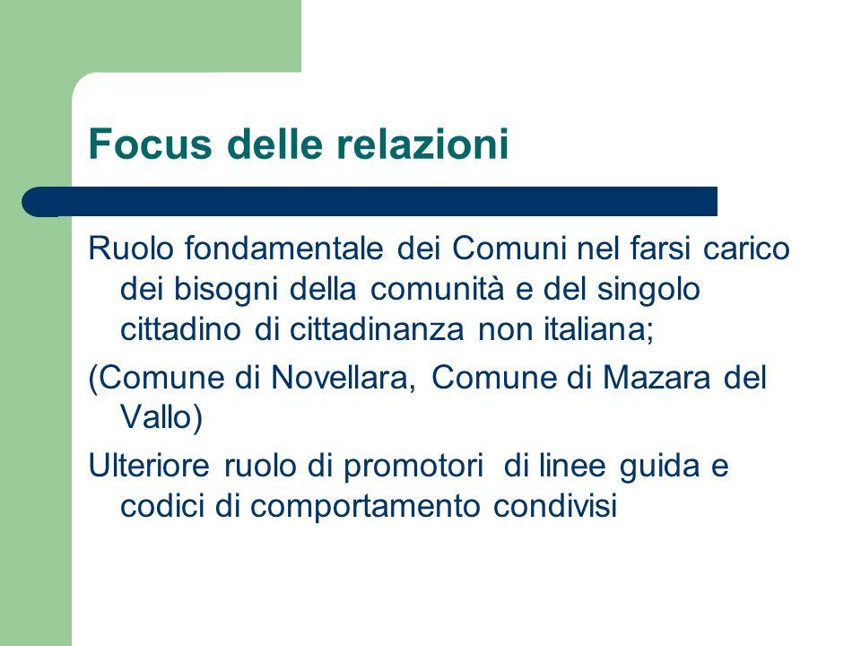 Focus delle relazioni Ruolo fondamentale dei Comuni nel farsi carico dei bisogni della comunità e del singolo cittadino di cittadinanza non italiana;