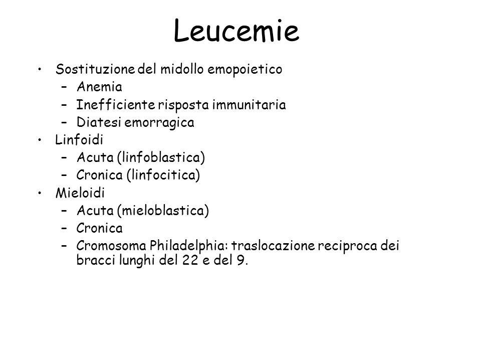 Leucemie Sostituzione del midollo emopoietico –Anemia –Inefficiente risposta immunitaria –Diatesi emorragica Linfoidi –Acuta (linfoblastica) –Cronica (linfocitica) Mieloidi –Acuta (mieloblastica) –Cronica –Cromosoma Philadelphia: traslocazione reciproca dei bracci lunghi del 22 e del 9.