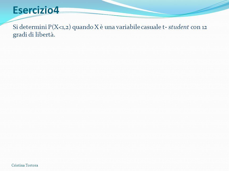 Esercizio4 Cristina Tortora Si determini P(X<1,2) quando X è una variabile casuale t- student con 12 gradi di libertà.