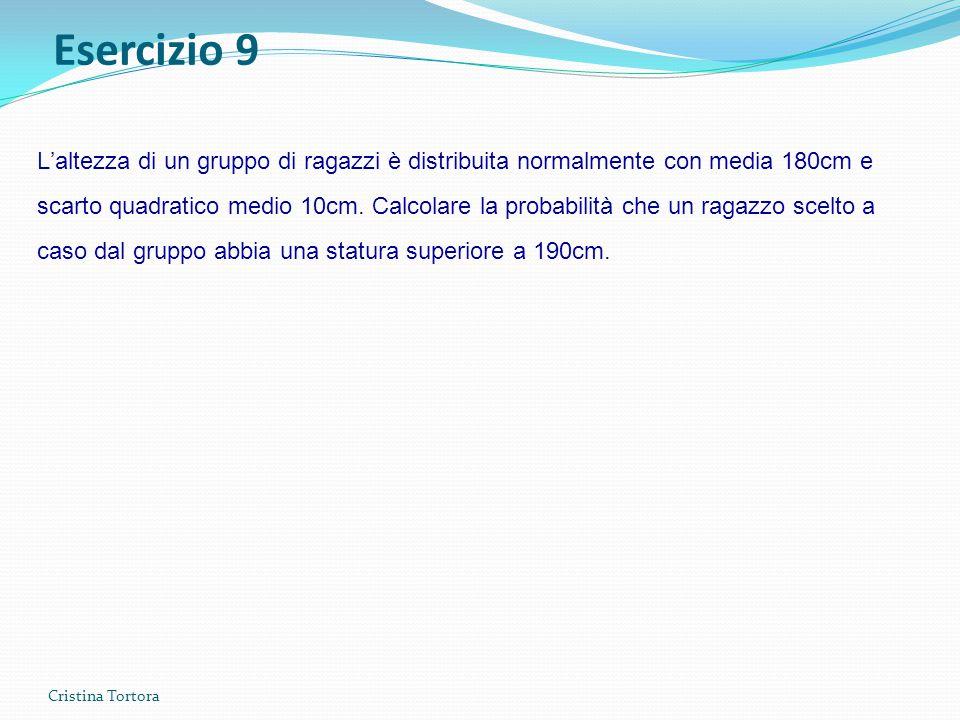 Cristina Tortora L'altezza di un gruppo di ragazzi è distribuita normalmente con media 180cm e scarto quadratico medio 10cm.