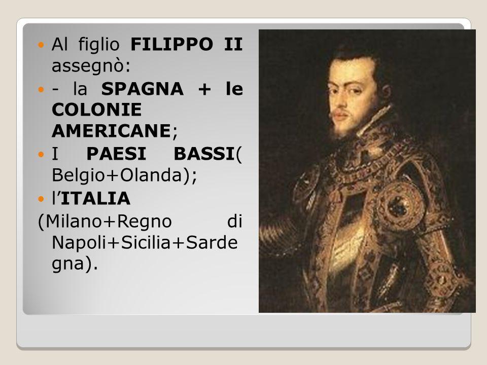 Al figlio FILIPPO II assegnò: - la SPAGNA + le COLONIE AMERICANE; I PAESI BASSI( Belgio+Olanda); l'ITALIA (Milano+Regno di Napoli+Sicilia+Sarde gna).