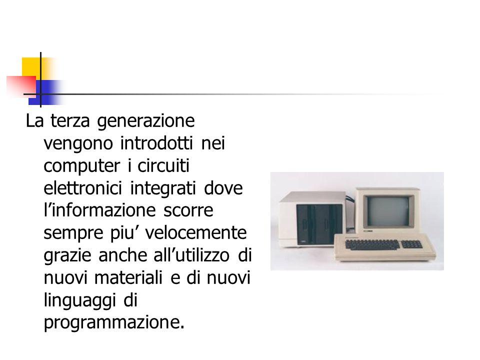 La terza generazione vengono introdotti nei computer i circuiti elettronici integrati dove l'informazione scorre sempre piu' velocemente grazie anche all'utilizzo di nuovi materiali e di nuovi linguaggi di programmazione.