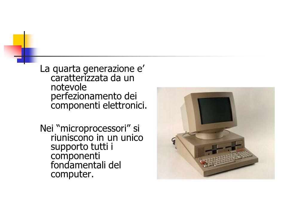 La quarta generazione e' caratterizzata da un notevole perfezionamento dei componenti elettronici.