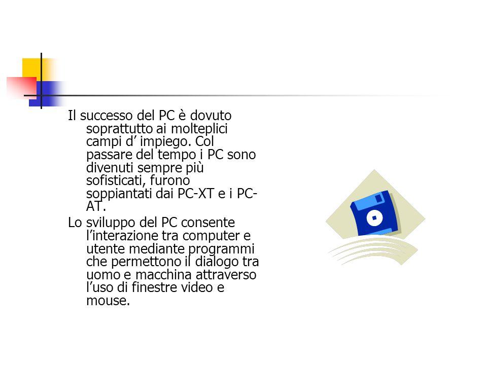 Il successo del PC è dovuto soprattutto ai molteplici campi d' impiego.