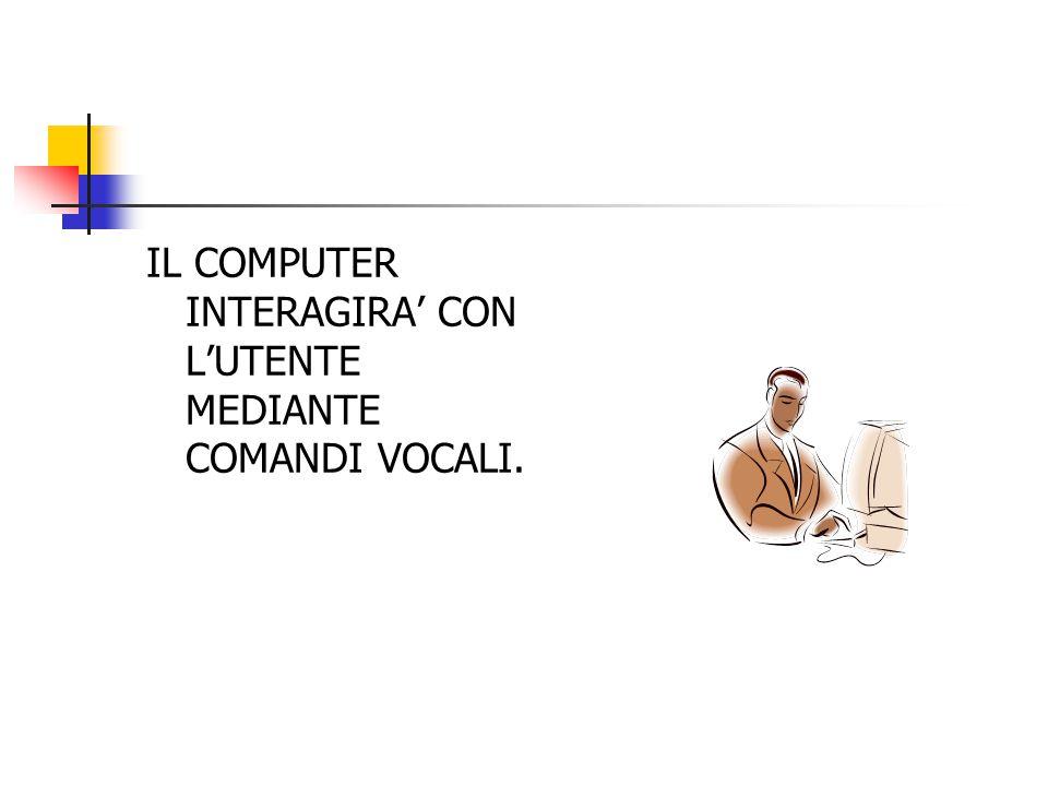 IL COMPUTER INTERAGIRA' CON L'UTENTE MEDIANTE COMANDI VOCALI.