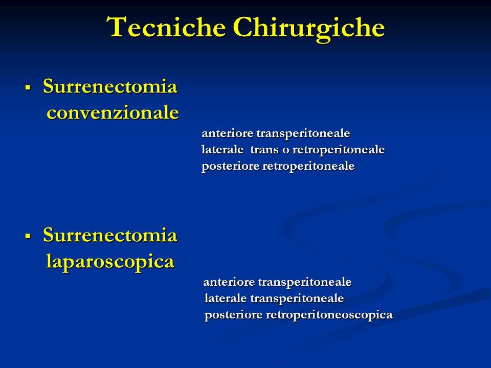  Surrenectomia convenzionale convenzionale anteriore transperitoneale anteriore transperitoneale laterale trans o retroperitoneale laterale trans o retroperitoneale posteriore retroperitoneale posteriore retroperitoneale  Surrenectomia laparoscopica laparoscopica anteriore transperitoneale anteriore transperitoneale laterale transperitoneale laterale transperitoneale posteriore retroperitoneoscopica posteriore retroperitoneoscopica Tecniche Chirurgiche