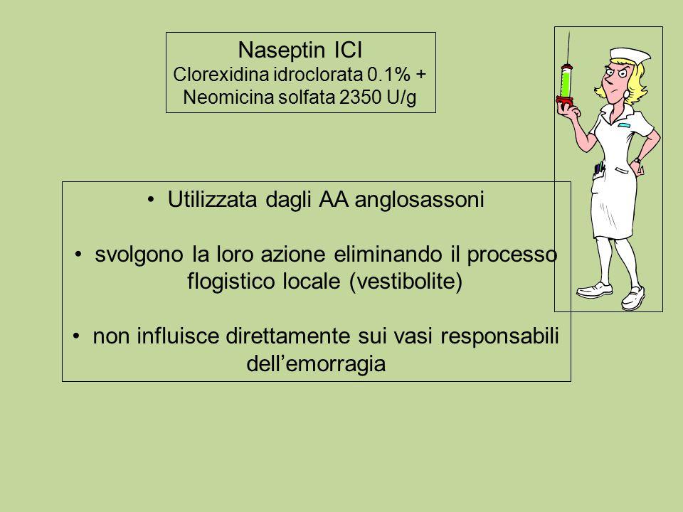Naseptin ICI Clorexidina idroclorata 0.1% + Neomicina solfata 2350 U/g Utilizzata dagli AA anglosassoni svolgono la loro azione eliminando il processo flogistico locale (vestibolite) non influisce direttamente sui vasi responsabili dell'emorragia