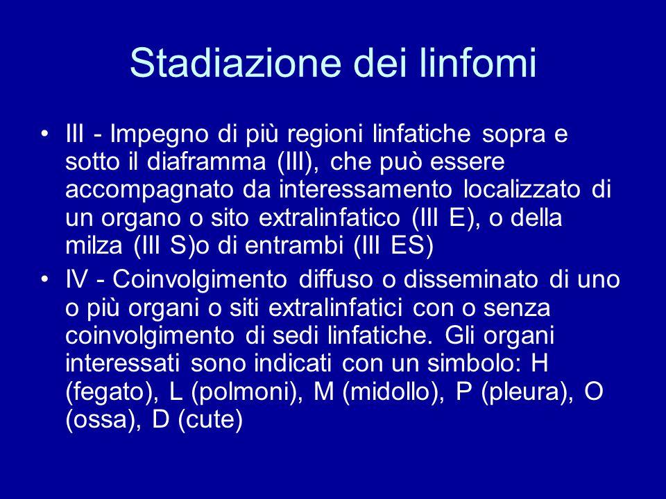 Stadiazione dei linfomi III - Impegno di più regioni linfatiche sopra e sotto il diaframma (III), che può essere accompagnato da interessamento locali