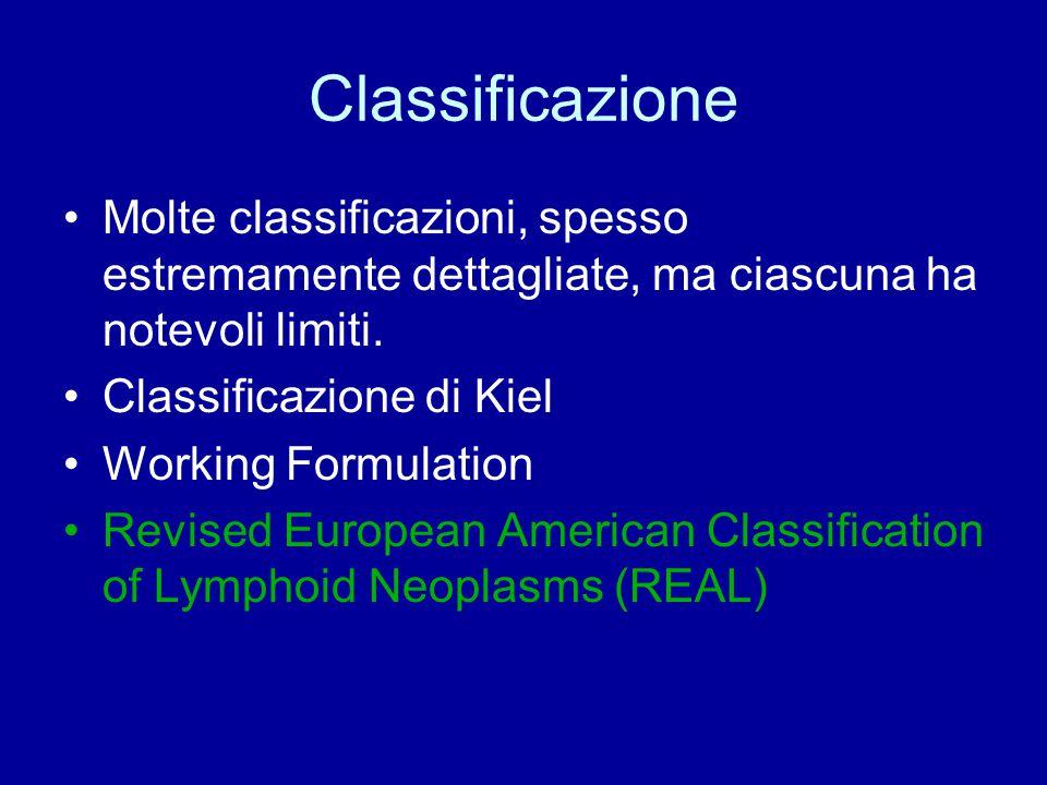 Classificazione REAL dei linfomi B 1- Neoplasie dei precursori delle cellule B: leucemia-linfoma linfoblastico dei precursori B 2- Neoplasie delle cellule B periferiche Leucemia linfocitica a piccole cellule B/linfoma a piccoli linfociti B Linfoma linfoplasmacellulare Linfoma mantellare Linfoma follicolare del centro germinativo (grado I, II, III) Linfoma B della zona marginale Linfoma della zona marginale splenica Leucemia a cellule capellute Plasmocitoma Linfoma diffuso a grandi cellule B Linfoma di Burkitt