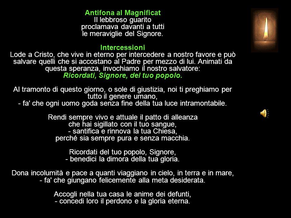 Antifona al Magnificat Il lebbroso guarito proclamava davanti a tutti le meraviglie del Signore.