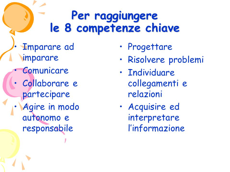Per raggiungere le 8 competenze chiave Imparare ad imparare Comunicare Collaborare e partecipare Agire in modo autonomo e responsabile Progettare Risolvere problemi Individuare collegamenti e relazioni Acquisire ed interpretare l'informazione