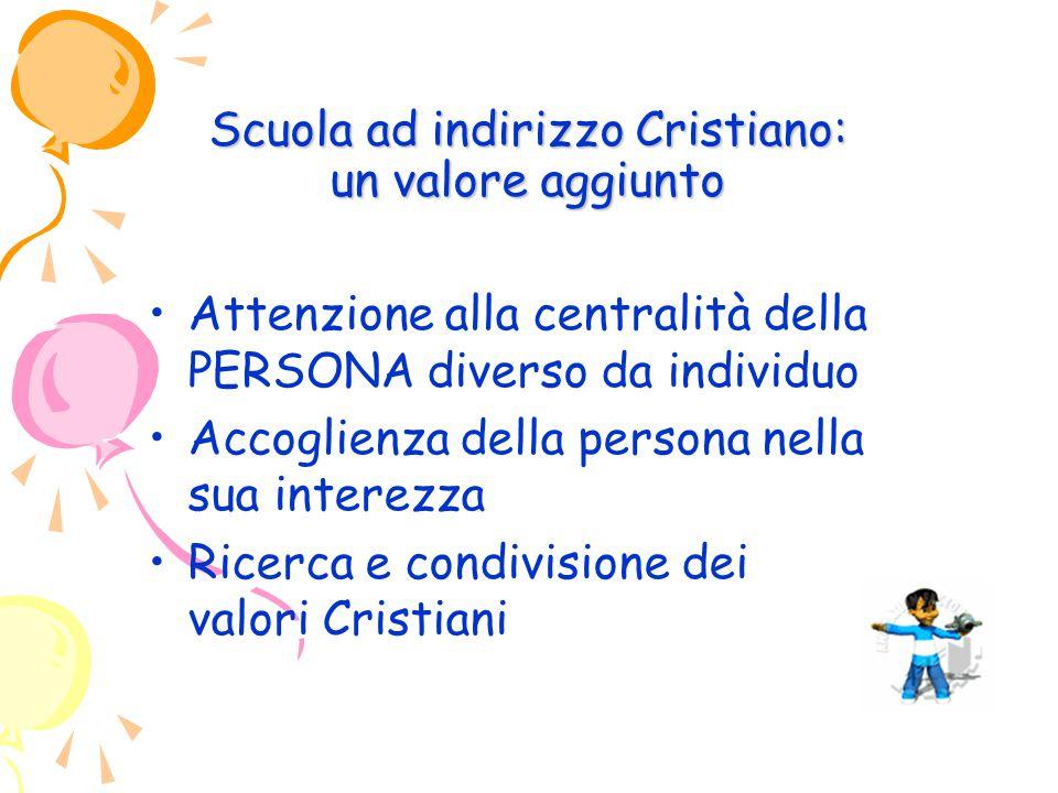 Scuola ad indirizzo Cristiano: un valore aggiunto Attenzione alla centralità della PERSONA diverso da individuo Accoglienza della persona nella sua interezza Ricerca e condivisione dei valori Cristiani