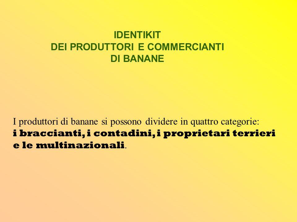 IDENTIKIT DEI PRODUTTORI E COMMERCIANTI DI BANANE I produttori di banane si possono dividere in quattro categorie: i braccianti, i contadini, i propri