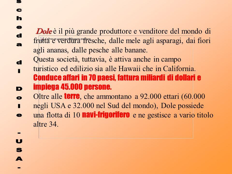 Dole Dole è il più grande produttore e venditore del mondo di frutta e verdura fresche, dalle mele agli asparagi, dai fiori agli ananas, dalle pesche