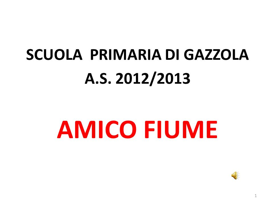 AMICO FIUME SCUOLA PRIMARIA DI GAZZOLA A.S. 2012/2013 1